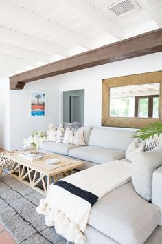 "On the family room: ""This room was intended to function as an informal living space. The couple has 4-year-old twin boys, so while they are incredibly well behaved it was important for the space..."
