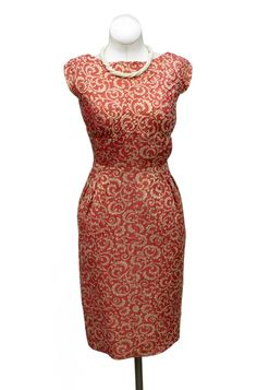 Cabaret Vintage - 1960s Coral and Gold Brocade Dress, $225.00 (http://www.cabaretvintage.com/new-arrivals/1960s-coral-and-gold-brocade-dress/)