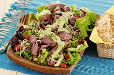 Grilled Steak Salad with Creamy Avocado Dressing Recipe - Healthy Living Kraft Recipes Kraft Foods, Kraft Recipes, Beef Recipes, Salad Recipes, Cooking Recipes, Healthy Recipes, Healthy Food, Salad Bar, Soup And Salad