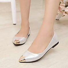 Chaussures Femme - Décontracté - Noir / Argent / Or - Talon Plat - Confort / Bout Pointu - Plates - Similicuir