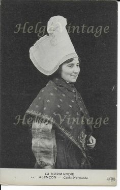 Antique French postcard La Normandie/Alencon, lady in traditional clothes Traditional Clothes, North Africa, Costume Dress, French Antiques, Ethnic, Crochet Hats, Lady, Normandie, Dress