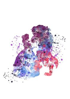 DISNEY BEAUTY AND THE BEAST Art Print Wall Art Watercolour Canvas Gift 3 Sizes