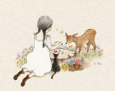 사방이 알록달록 꽃들로 가득 찼습니다. 눈에 보이는 것마다 싱그럽고 아름다운 날이었습니다. 나는 시간 가는 줄도 모르고 꽃을 땄지요. 한 바구니 가득 꽃을 모아 오는 길, 그루터기를 만났습니다. 윗부분이 평평한게, 꼭 스케치북 같았지요. 나는 꽃들로 꽃글씨를 써보았습니다. 꽃보다 더 어여쁜 이름....... 엄......마....... 갑자기 엄마가 더 많이 보고 싶어져서 난 서둘러 집으로 돌아갔습니다. 바구니 속 제일 예쁜 꽃을 엄마의 머리에 꽂아드려야지....생각하면서요.....