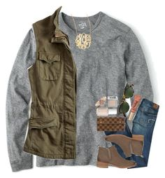 """fall weather is just "" by preppy-southern-gals ❤ liked on Polyvore featuring Lucky Brand, American Eagle Outfitters, Tory Burch, Jennifer Zeuner, Too Faced Cosmetics, Oliver Peoples, Louis Vuitton, Essie, Urban Decay and Kendra Scott"