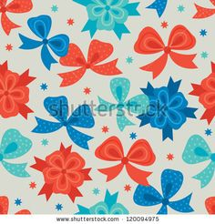 Seamless pattern with bows - stock vector