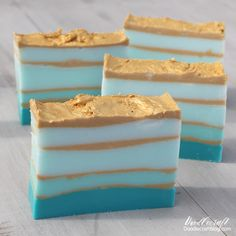 The Top Blue, Aqua and Turquoise DIY Crafts turquoise blue teal ombre layered DIY as you melt your own soap with shimmering gold mica glitter bars and pour soaps scented mold ocean layers Handmade Soap Recipes, Handmade Soaps, Diy Soap Rocks, Diy Savon, Soap Melt And Pour, Diy Beauté, Soap Display, Teal And Gold, Aqua Blue