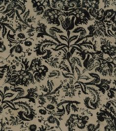 Microsuede Fabric-Flourish Black &amp