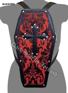Dark Star Red Gothic PVC Coffin Cross Stud Backpack Purse Backpack Purse 311350e085