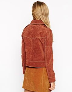 Image 2 of ASOS Western Jacket In Suede With Stitch Detail