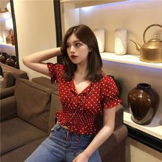 Buy Baage Dotted ShortSleeve Top YesStyle is part of Puff sleeve blouse - Korean Outfits, Trendy Outfits, Summer Outfits, Cute Outfits, Fashion Outfits, Fashion Tips, Diy Korean Clothes, Womens Fashion, Hipster Outfits