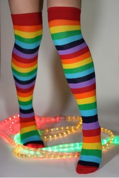 b66e331ec Foot Traffic acrylic rainbow over the knee striped thigh highs. Fun and  Funky multi-colored striped socks. Show your pride with these Rainbow socks.