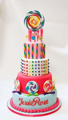 Colorful Kids Birthday Cake With Candy