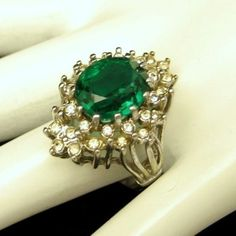 Large Green Glass Stone Rhinestones Cocktail Ring Vintage Gold Plated Size 8 #Unbranded #Cocktail
