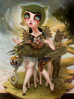 """Jennybird Alcantara~Creature of Saintly Disguise~solo show opening June 9th at Varnish Fine Art in SF. oil on wood 48""""x65"""""""