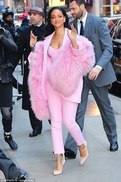 Rihanna wearing Pascal Millet Fall 2015, Michelle Fantaci Queen Ring, Nora Kogan Anastasia Yellow Gold and Diamond Ring and Holly Fulton X Christian Louboutin Decollete 554 Suede Pumps