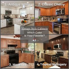 All 4 of these kitchens are donning our popular Vintage Style Cabinet Door. Which cabinet finish color is your favorite? White Cherry Mahogany Comment below with the number of the color you like best! Classic Kitchen Cabinets, Distressed Kitchen Cabinets, Contemporary Kitchen Cabinets, Refacing Kitchen Cabinets, Cabinet Refacing, Kitchen Cabinet Styles, Kitchen Cabinet Doors, Home Depot, Mahogany Cabinets