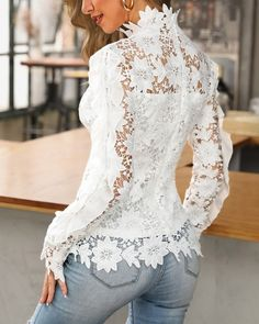 Shop Chic Me - Women's Best Online Shopping - Offering Huge Discounts on Dresses, Lingerie , Jumpsuits , Swimwear, Tops and More. Trend Fashion, Look Fashion, Fashion Weeks, Paris Fashion, Lace Tops, Lace Blouses, Womens Fashion Online, Pattern Fashion, African Fashion