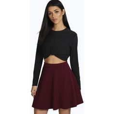 Boohoo Night Roseanna Fit and Flare Skater Skirt ($14) ❤ liked on Polyvore featuring skirts, berry, midi skirt, midi circle skirt, skater skirt, flared skirt and flared maxi skirt