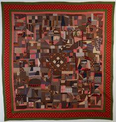 Cotton Crazy Quilt: Circa 1889; Pennsylvania