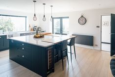 Kitchen Island With Silestone And Oak Worktops - Contemporary Kitchen With Shaker Cupboards Painted In F&b Railings Rock My Style, Style Uk, Open Plan Kitchen, Kitchen Ideas, Kitchen Planning, Kitchen Layouts, Kitchen Decor, Bungalow Renovation, Edwardian House