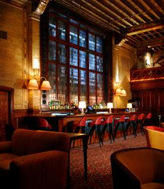 In New York City, the drinks flow for afternoon brunchers, late-night revelers, and everyone in between. For design lovers.  Pictured: The Campbell Apartment One of the classic New York drinking establishments, the Campbell Apartment is located in Grand Central Station