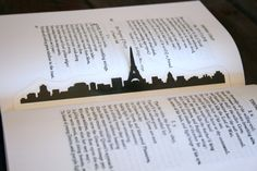 Paris France Bookmark Handcut Silhouette Cut by GracefulDiligence