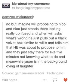 I love how the whole fandom is convinced that Nico and Will are going to propose on the same night. (don't get me wrong i think so too and i love it.)