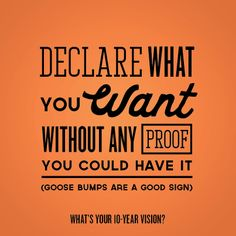 Dream your 10-Year vision: Declare what you want without any proof that you could have it. (goose bumps are a good sign)