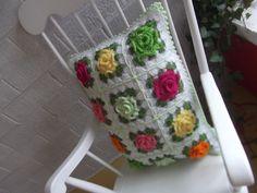Rose crochet square pillow Appleblossom Dreams pattern.