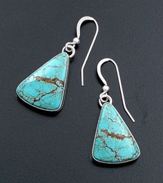 Navajo - #8 Turquoise & Sterling Silver Triangular Dangle Earrings #39339 $100.00