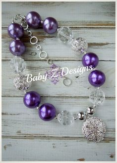 Purple Silver and Clear Vintage Inspired Locket Chunky Necklace by babyzdesigns, $21.99