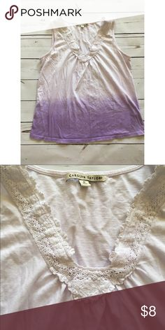 Carolyn Taylor tank top Shades of purple ombré tank from Carolyn Taylor. Has an embroidered V neckline. Size medium and in GUC due to wash wear only. Measures 23 1/2 inches in length and 18 1/2 inches (laid flat) across the chest. Fabric content: 100% cotton. Carolyn Taylor Tops Tank Tops