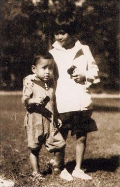 Young Prince Bhumibol later King Rama lX of Thailand and his sister
