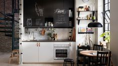 Invite creativity into your kitchen style by combining IKEA VEDDINGE white kitchen cabinet doors with UDDEVALLA chalk doors that you and your family can write on! Find modern kitchens and get inspired by more kitchen layouts in the IKEA Rooms gallery. Ikea Small Kitchen, One Wall Kitchen, Ikea Kitchen Design, Ikea Kitchen Cabinets, Kitchen Cabinet Doors, Kitchen Layout, Kitchen Furniture, New Kitchen, Kitchen Decor