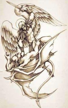 Tatuajes de ángeles: Fotos de los mejores para mujeres - Tatuajes de ángeles para mujeres: Ángel y demonio luchando
