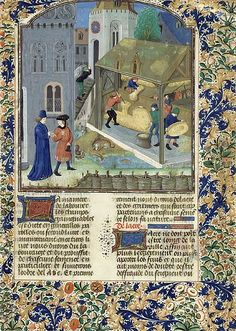 """frenchhistory: """" frenchhistory: """"Pierre de Crescens, Livre des profits champêtres, Bruges, fin XVesiècle Paris, BnF, Arsenal, manuscrit 5064 fol. 53 @credits """" Cereals were the basis of the alimentation during the Middles Ages. Furnishing the..."""