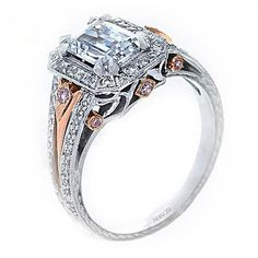 Rings of Importance... Lavish rose gold and platinum engagement ring from Hadar Diamonds.
