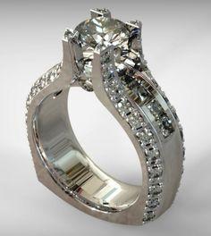 Custom Round & Princess Diamond Engagement Ring Setting in White Gold