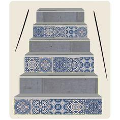 Contremarche d'escalier personnalisées - imitation béton et carreaux de ciment - contremarches faux carreaux de ciment et faux béton Decoration, Decorative Boxes, Design, Home Decor, Cement, Stairs, Tile, Art Deco, Decor