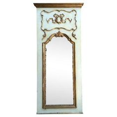 Check out this item at One Kings Lane! Italian Gilt & Painted Trumeau Mirror