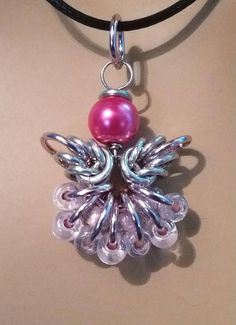 Carol's Little Angel Chainmaille Pendant glass beads