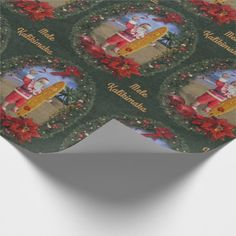 Hawaiian Santa with Surfboard Wrapping Paper