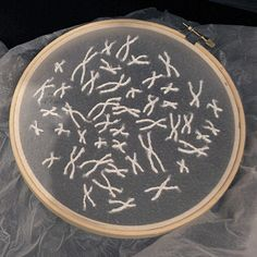 Laura Splan, Subcutaneous, 2009,   hand embroidery with thread on cosmetic facial peel, wood embroidery hoops, mixed media hoop  via Wo and Wé