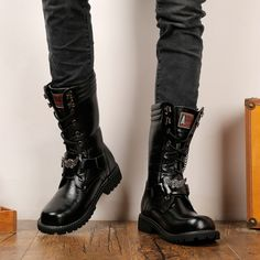 Men's punk laced-up faux leather military combat boots Mens Military Boots, Combat Boots For Men, Male Boots, New Shoes, Men's Shoes, Martin Shoes, Retro, Goth Boots, Doc Martens Boots