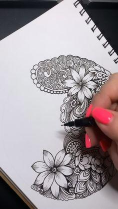 Zen Doodle Patterns, Doodle Art Designs, Zentangle Patterns, Doodle Art Drawing, Zentangle Drawings, Doodles Zentangles, Mandala Art Lesson, Mandala Artwork, Doodle Flowers