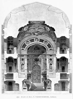 Design for the grand staircase of a museum