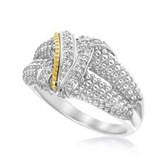 Intricately laced bands with .14 diamond accents and 18K yellow gold detailing showcase the opulent beauty of this rhodium finished sterling silver popcorn ring