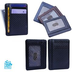 Suitable for Holiday Commemorative Gifts Minimalist Carbon Fiber Mens Wallet Black with Wallet Ultra Thin Metal Style Fashion Mens Models with RFID Credit Card Protection Technology