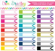 Blank Side Flags Clipart – Erin Bradley/Ink Obsession Designs