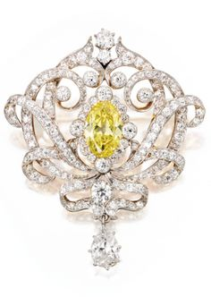 Gold, Platinum, Fancy Vivid Yellow Diamond and Diamond Brooch, Late 19th…